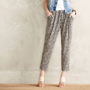 Anthropologie Floral Loungers Casual Cropped Pants
